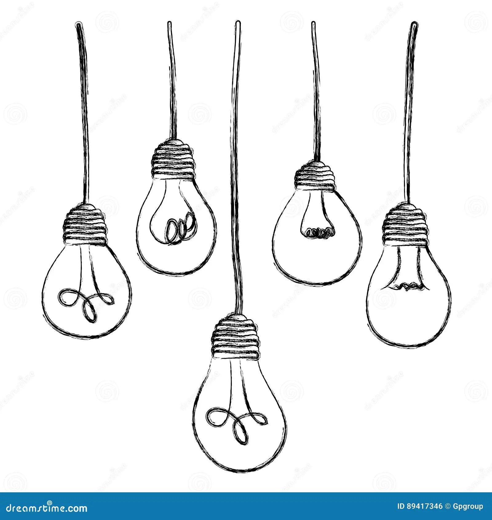 Light Bulbs Hanging Icon Stock Illustration Illustration