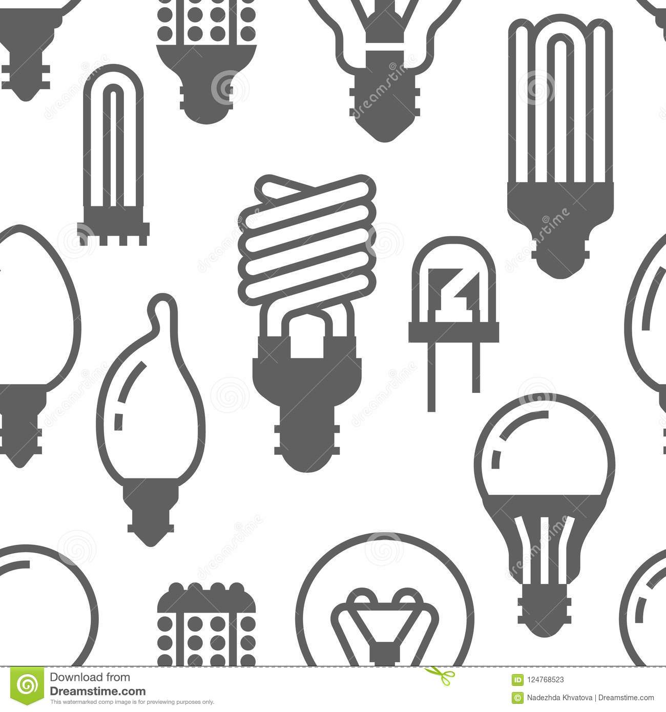 Light Bulbs Seamless Pattern With Flat Glyph Icons Led
