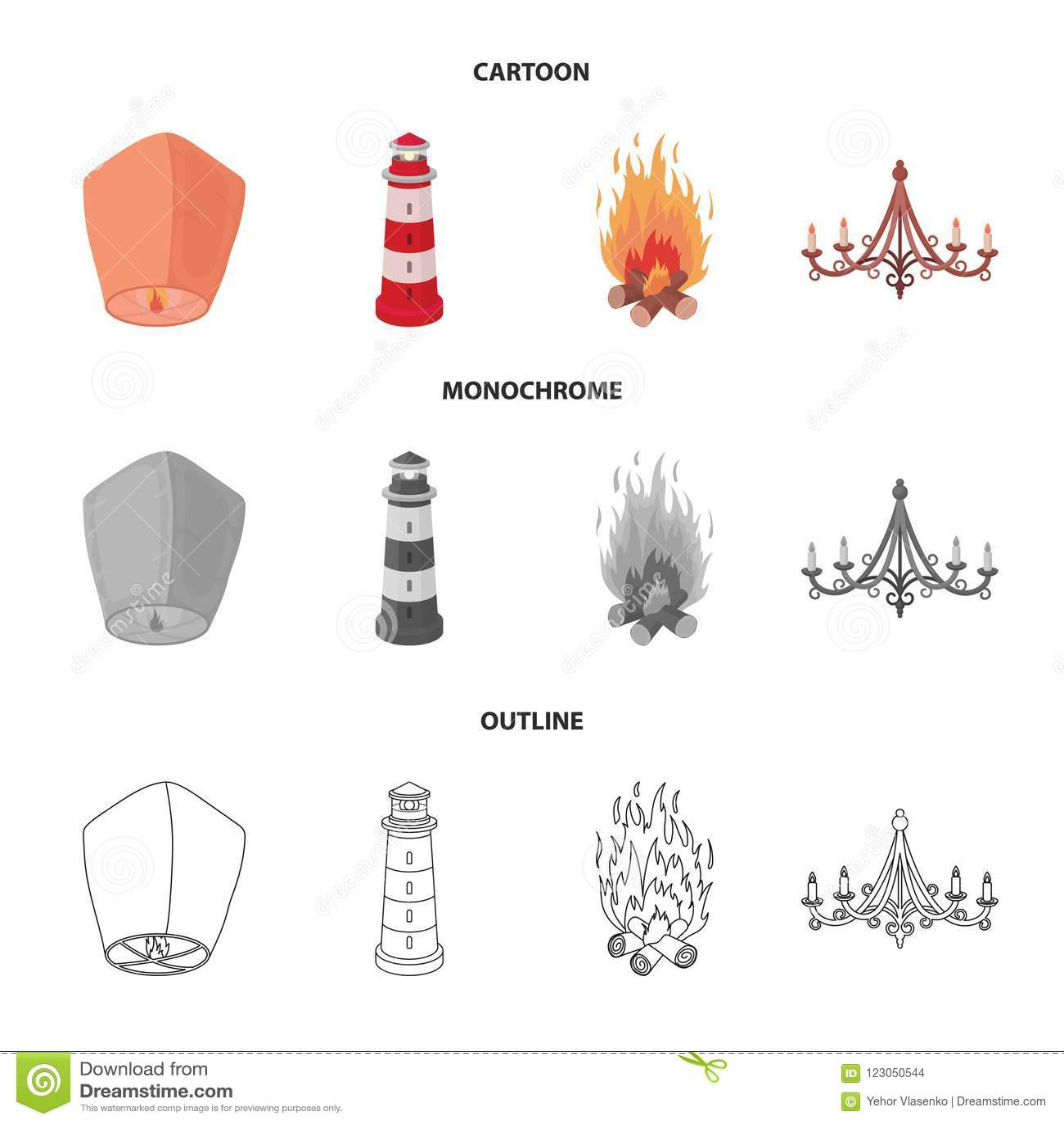 A Light Lantern A Lighthouse A Fire A Chandelier With