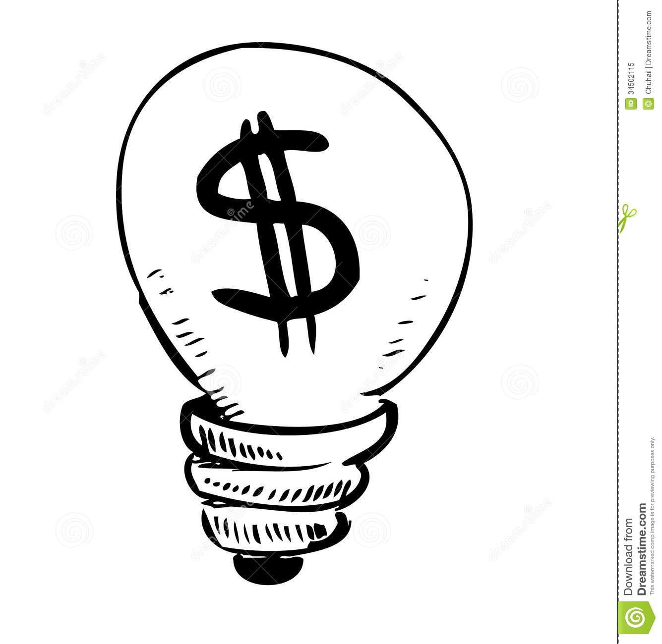 Lightbulb With Dollar Symbol Inside Stock Vector