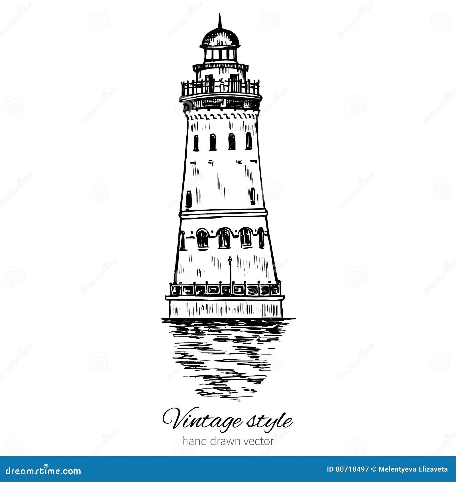Lighthouse Hand Drawn Ink Vector Illustration Sketch