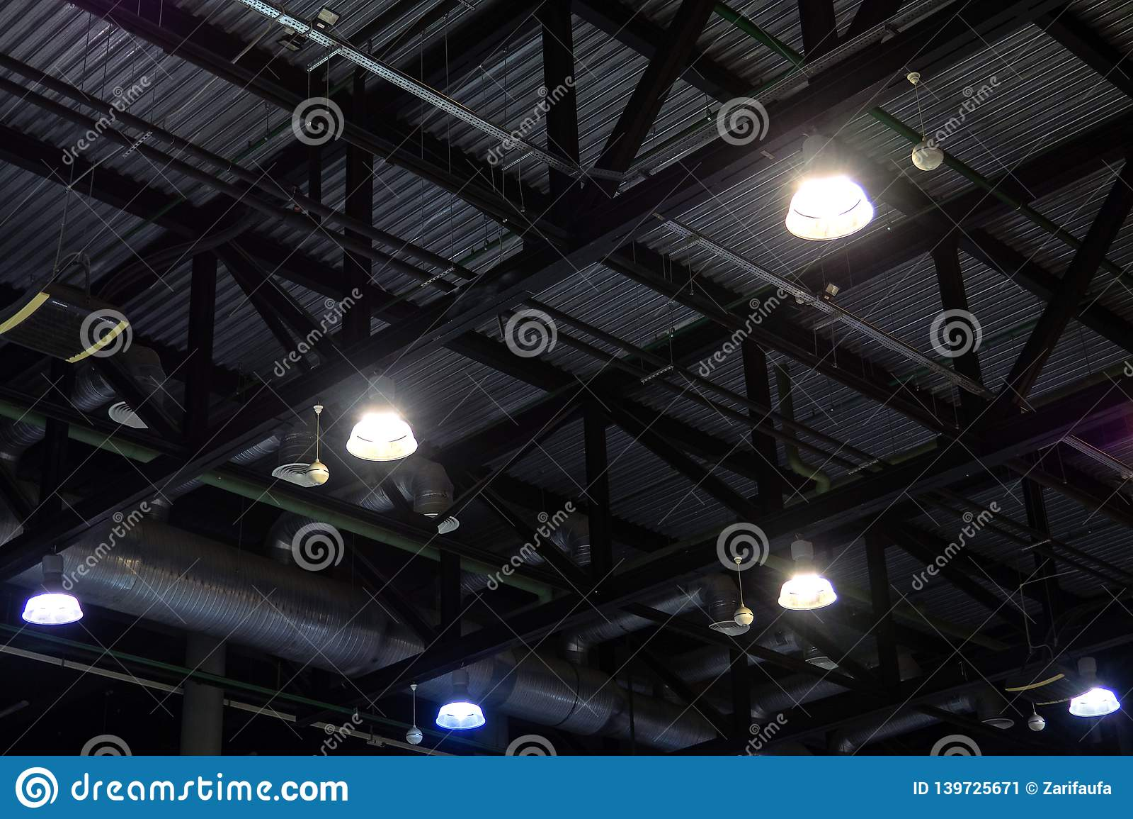 https www dreamstime com lights ventilation system ceiling dark office industrial building lights ventilation system ceiling image139725671