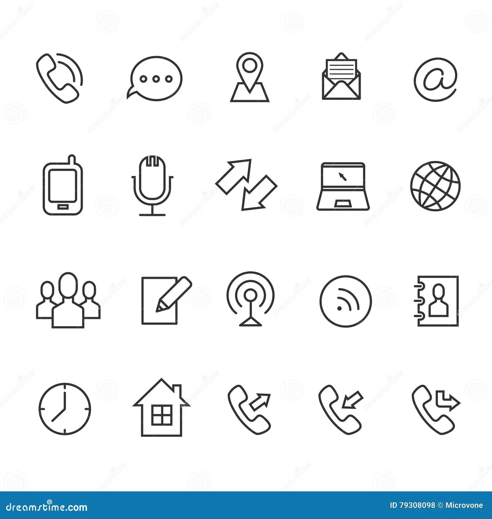 Ligne De Communication Icones De Vecteur Pour La Carte De