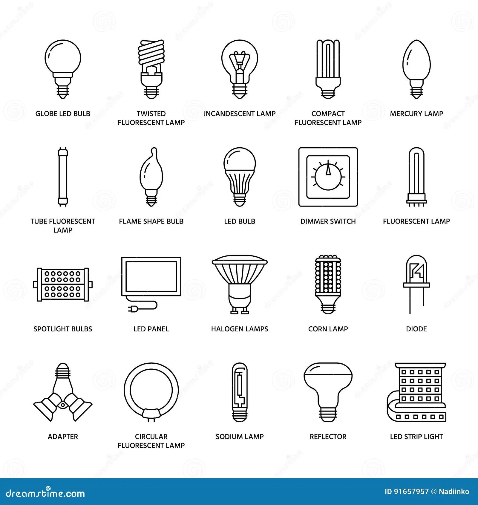 Ligne Plate Icones D Ampoules Types De Lampes Fluorescent