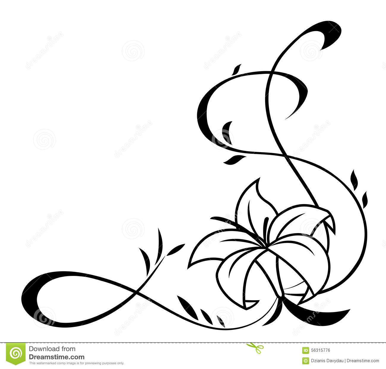 Lily Flowers Black Silhouette Illustration Stock Vector