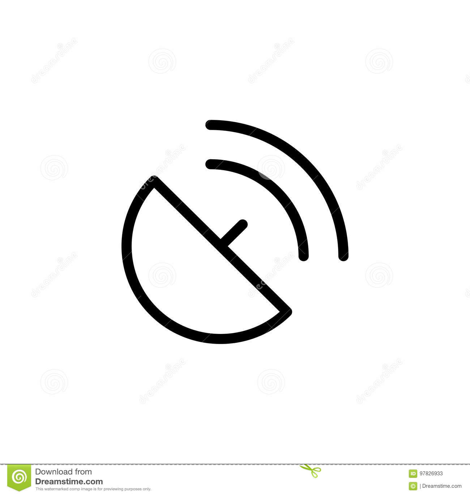Line Antenna Satellite Dish Broadcast Icon On White