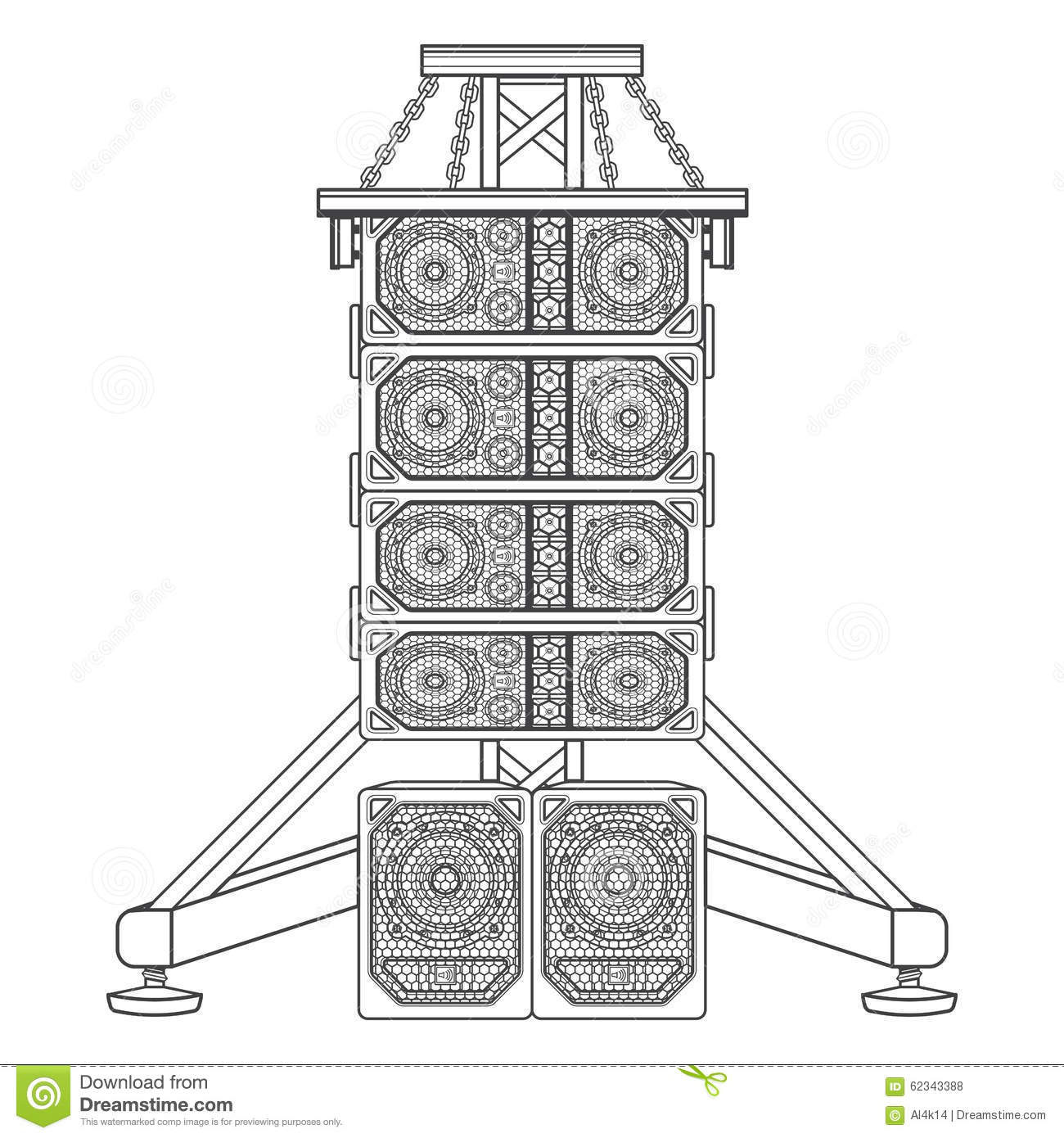 Line Array Concert Acoustics On Truss Suspension