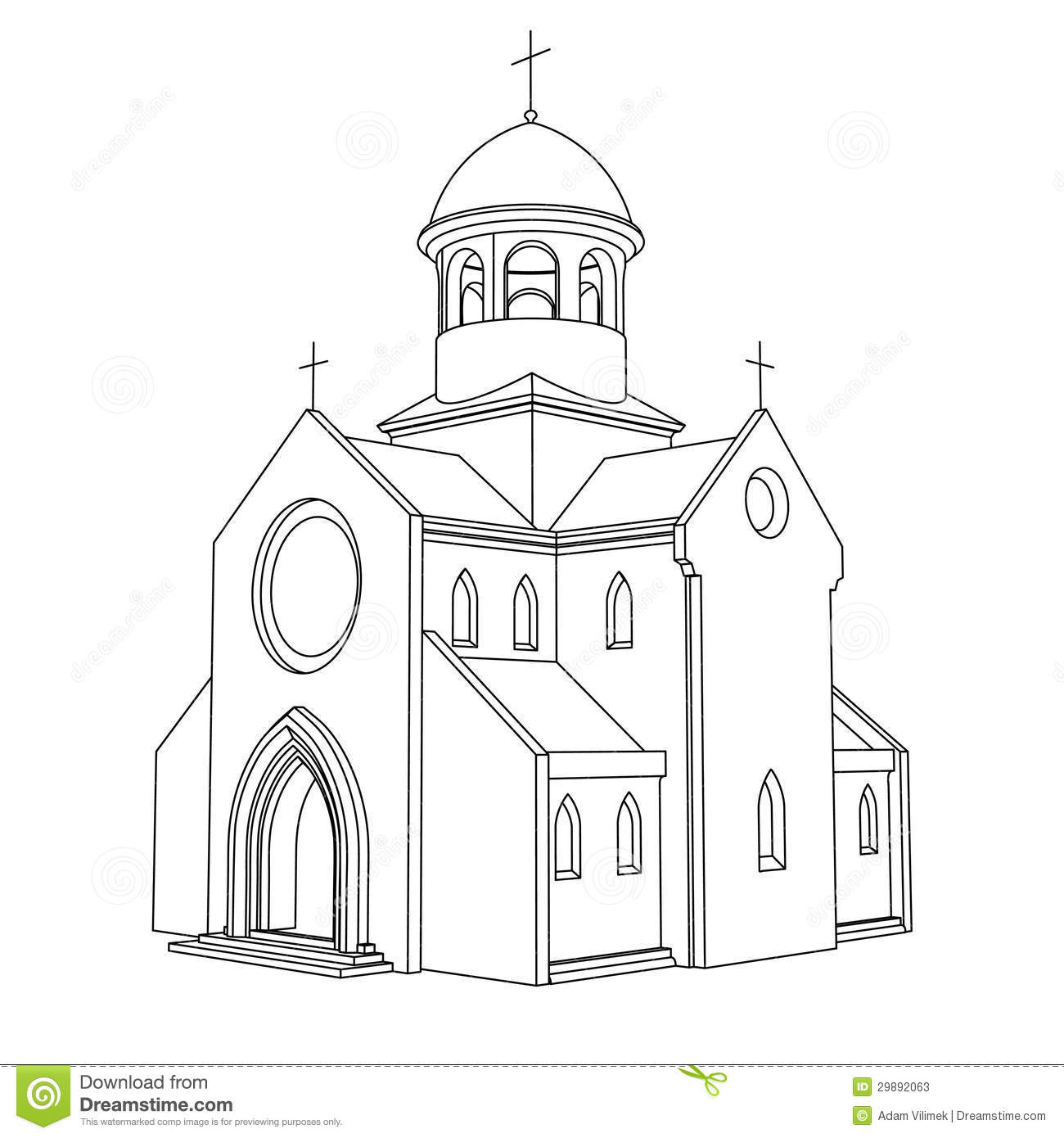 Line Art Ancient Basilica Drawing Vector Stock Photos