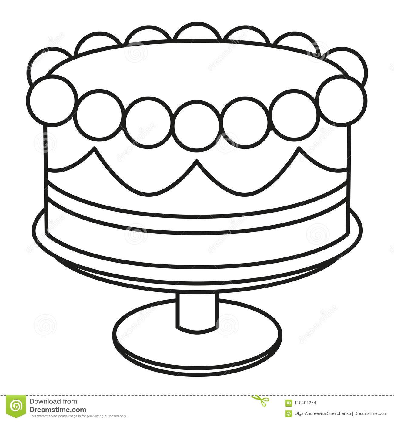 Line Art Black And White Birthday Cake On Stand Stock