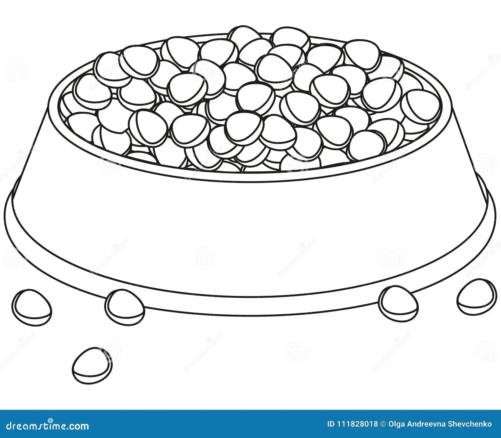 Line Art Black And White Full Pet Food Bowl Stock