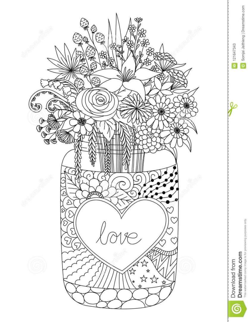 line art design of flowers on a mason jar for engraving