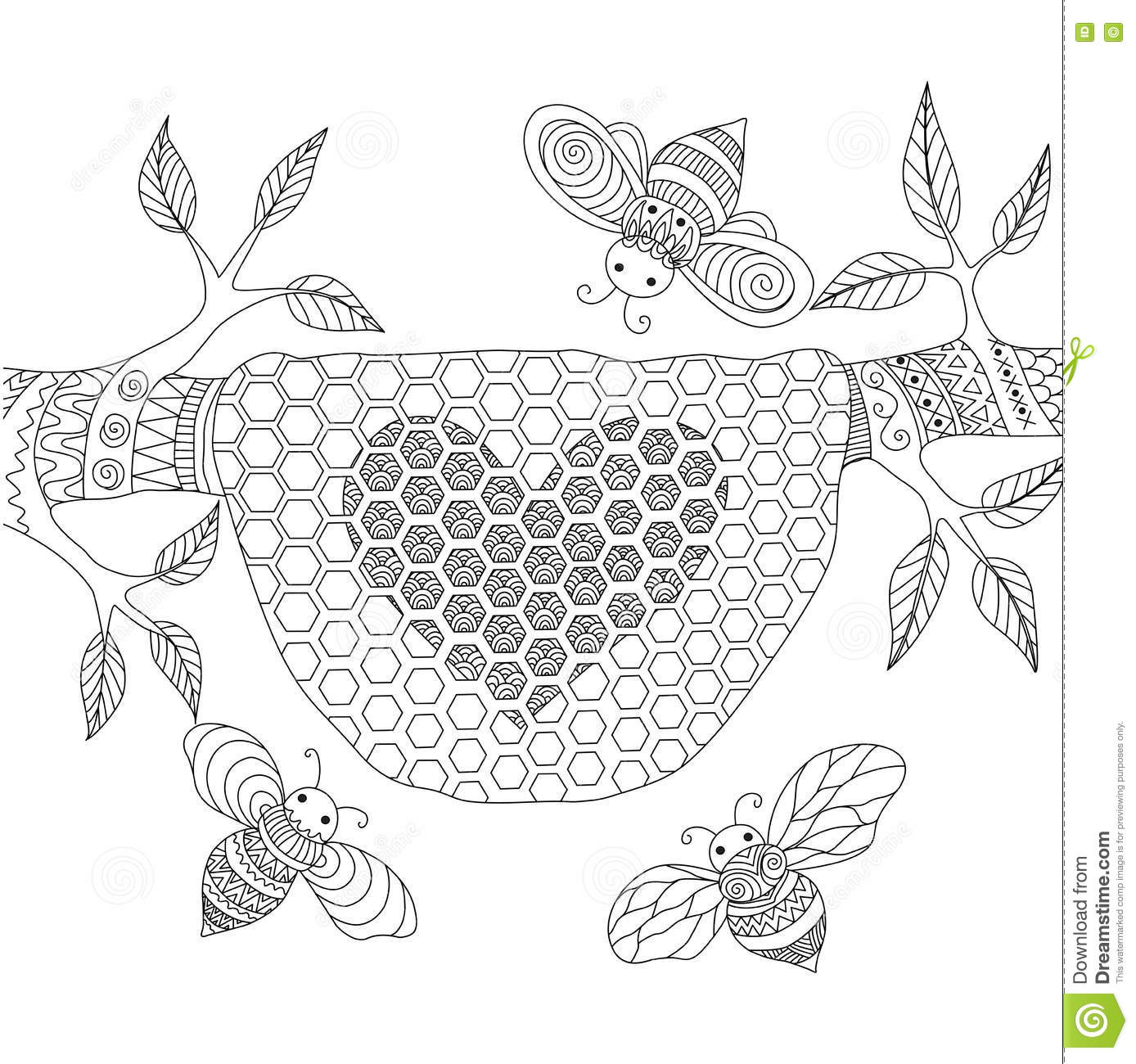 Line Art Design Of Honey Bees Flying Around Beehive Vector Illustration