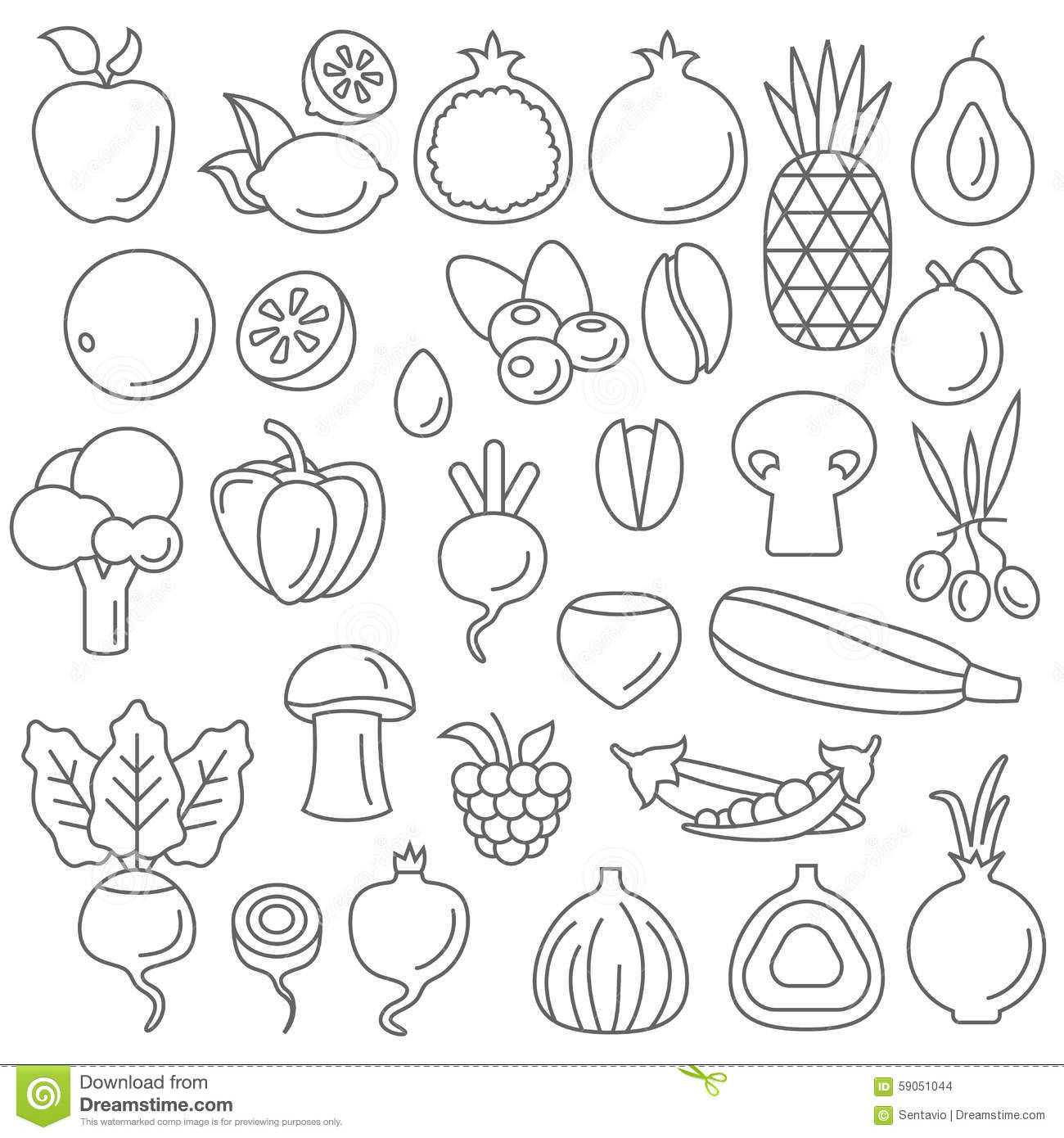 Line Art Vector Graphical Fancy Set Of Fruit And Vegetable