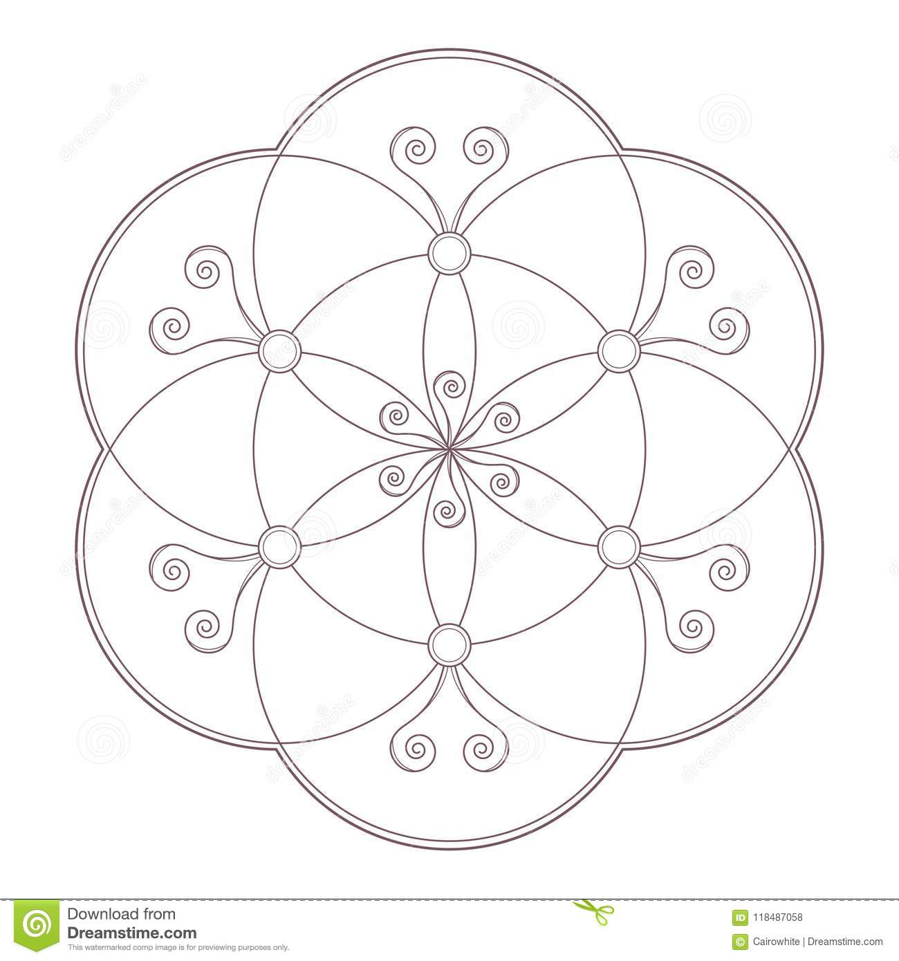 Line Art Vector Of Simple Mandala Design Stock Vector