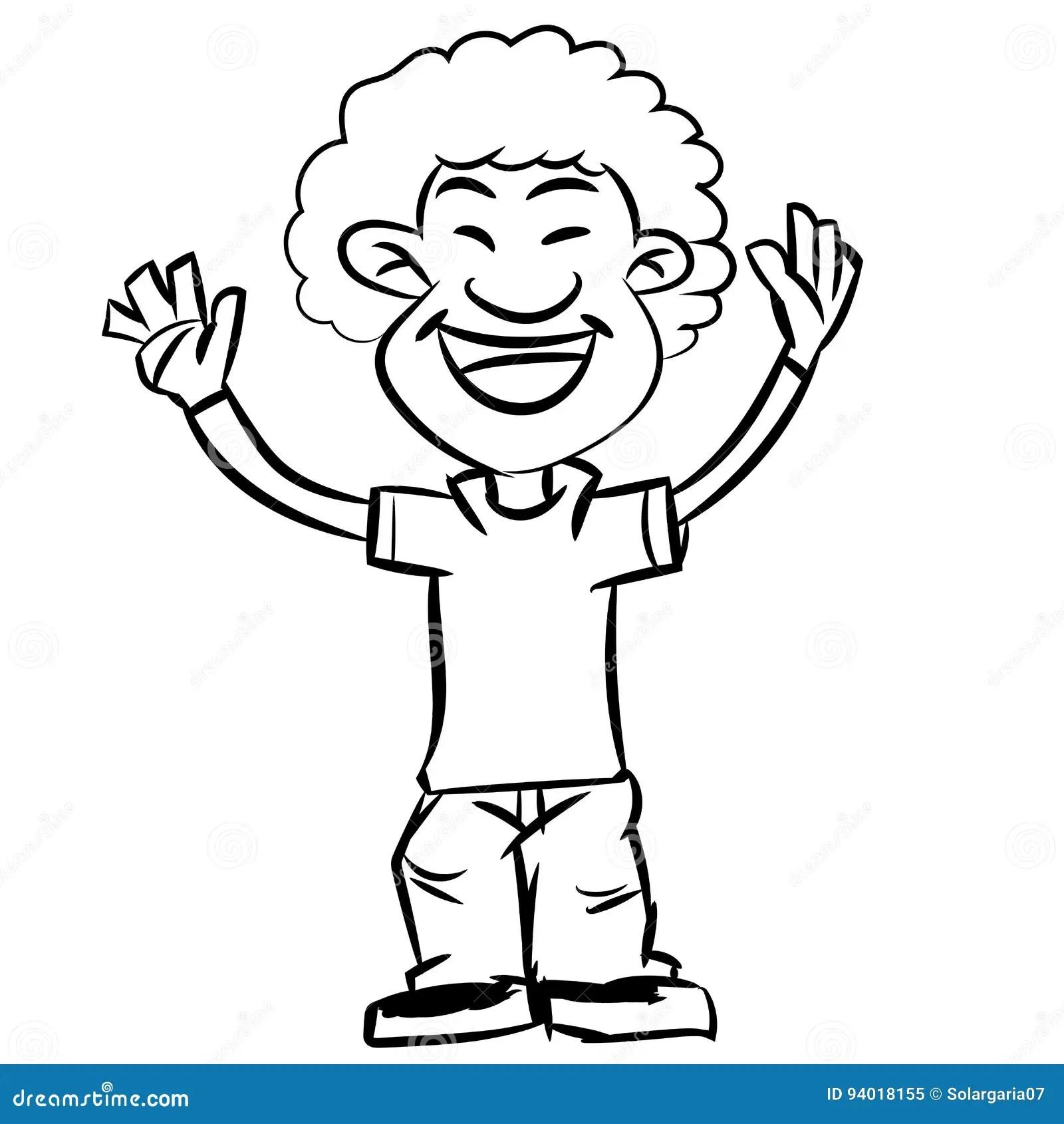 Line Drawing Cartoon Afro Boy Smiling