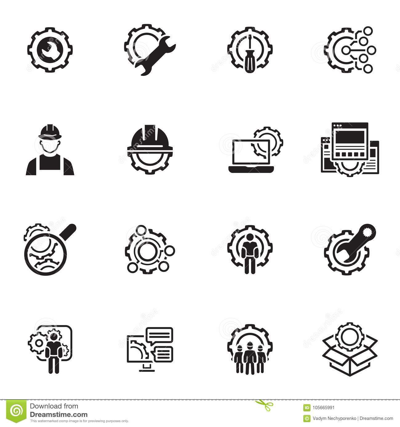 Line Engineering Icons Stock Vector Illustration Of