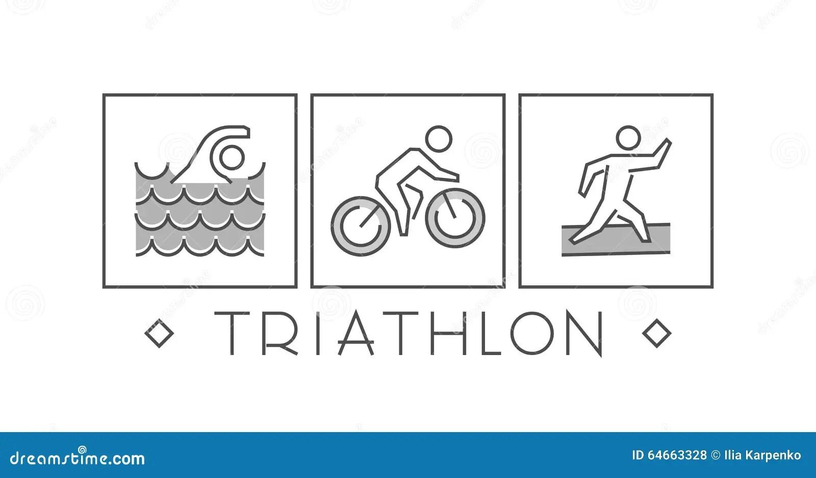 Vector Line And Flat Triathlon Logo And Symbol Stock
