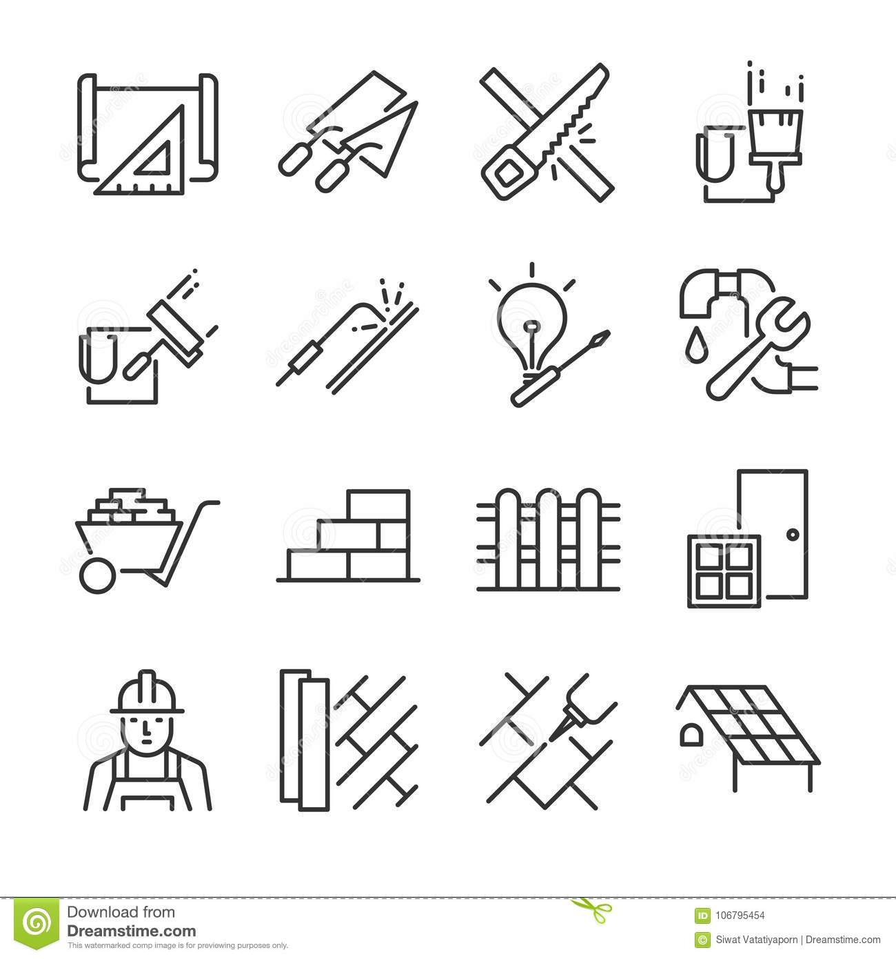 Home Renovation Icon Set Included The Icons As Paint