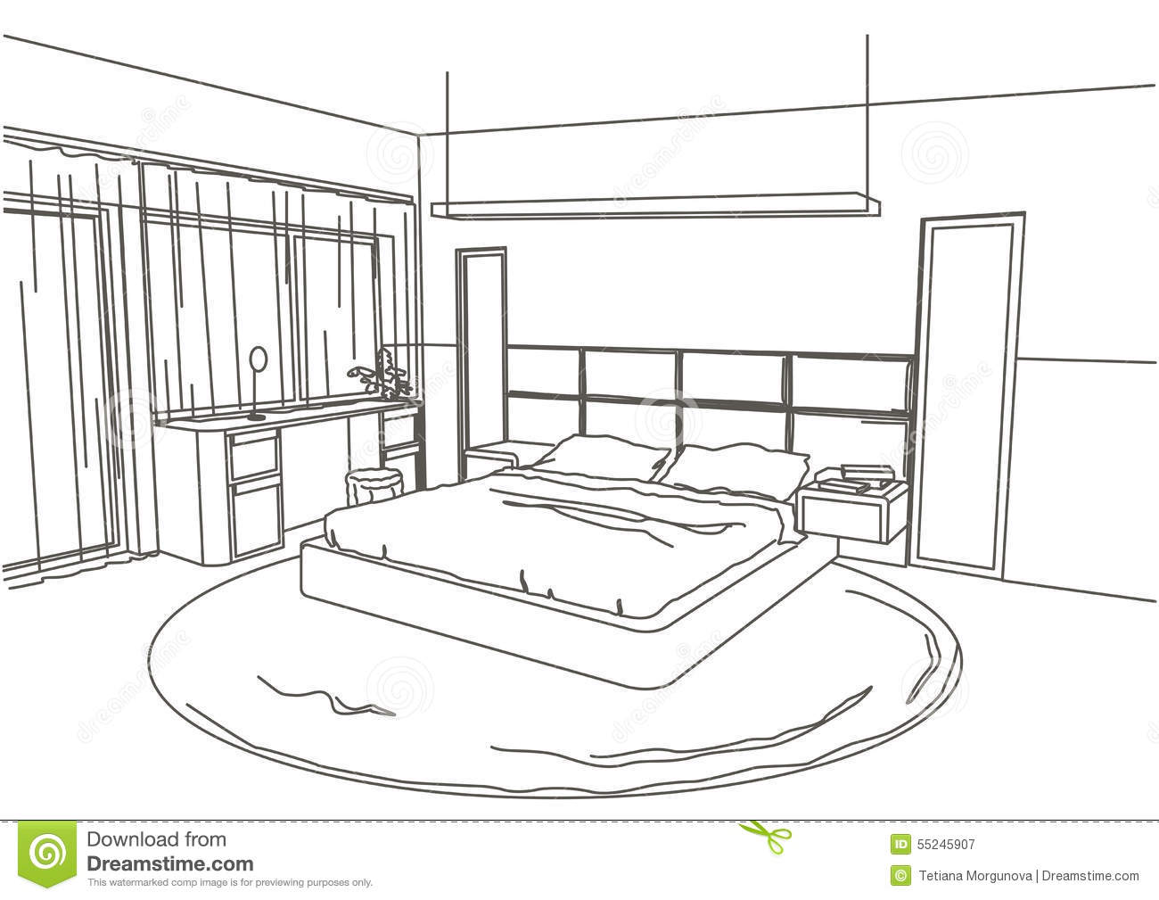 Linear Architectural Sketch Interior Modern Bedroom Stock