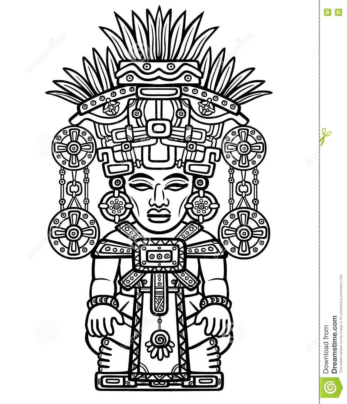 Linear Drawing Decorative Image Of An Indian Deity