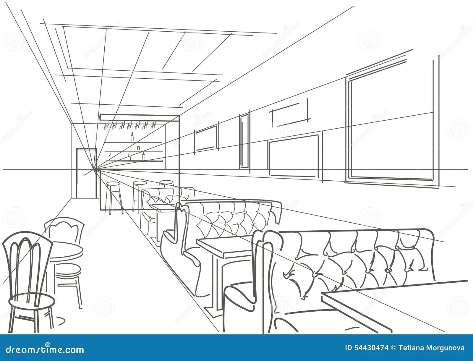 Linear Interior Sketch Cafe Stock Vector