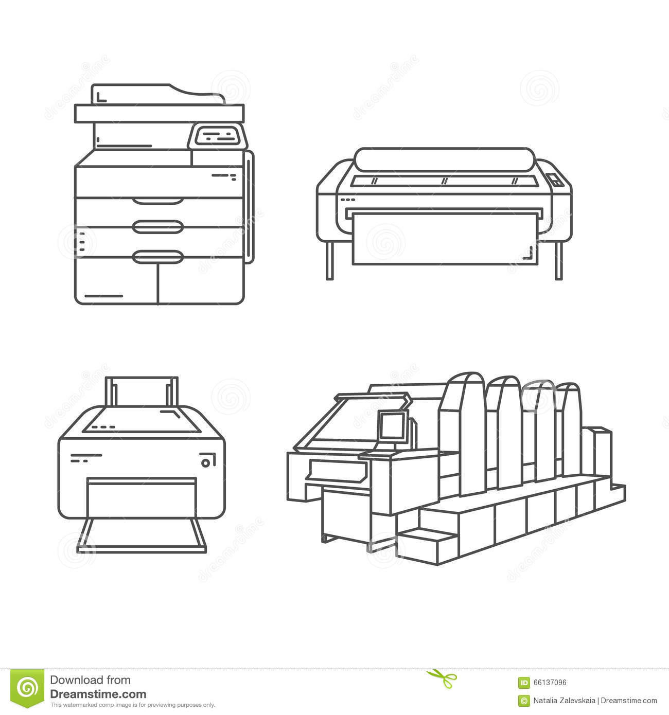 Linear Printers Set Stock Vector Illustration Of Business