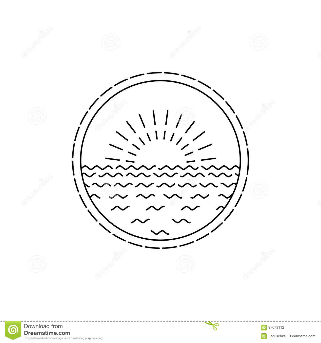 Linear Round Seascape And Sunrise Illustration Stock
