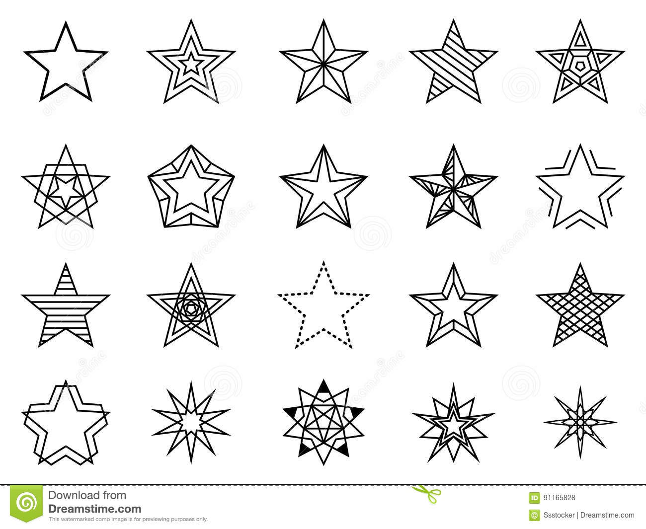 Linear Stars Vector Set Stock Vector Illustration Of