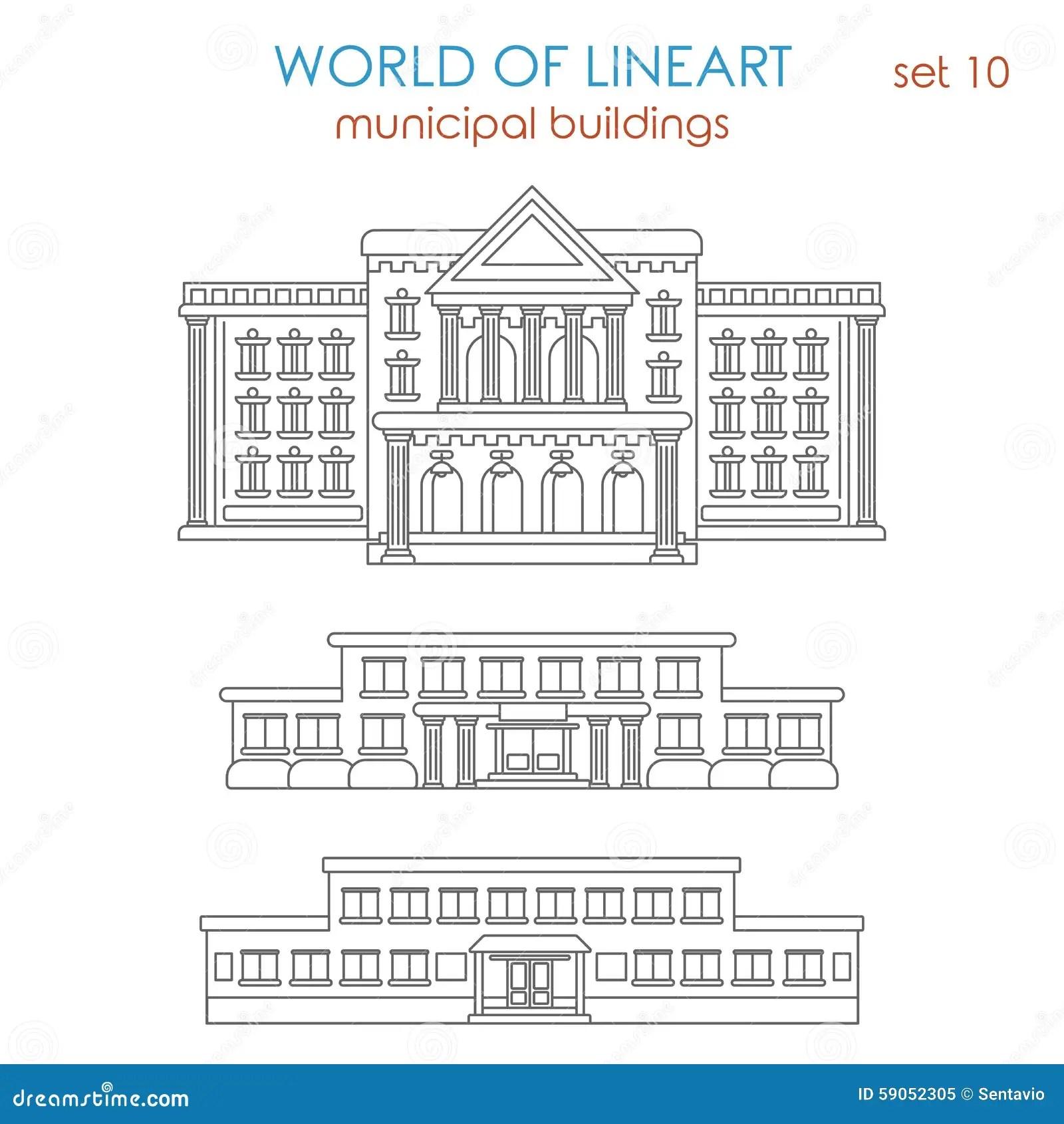 School Building Icon Outline Style Cartoon Vector