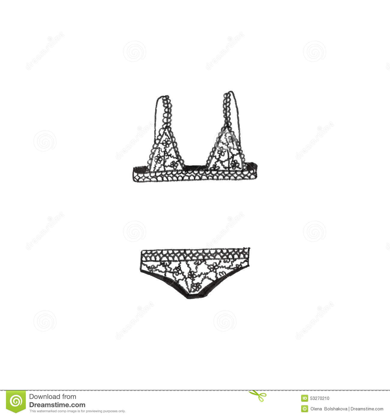 Lingerie Doodle Bra And Panties On The White Stock Vector