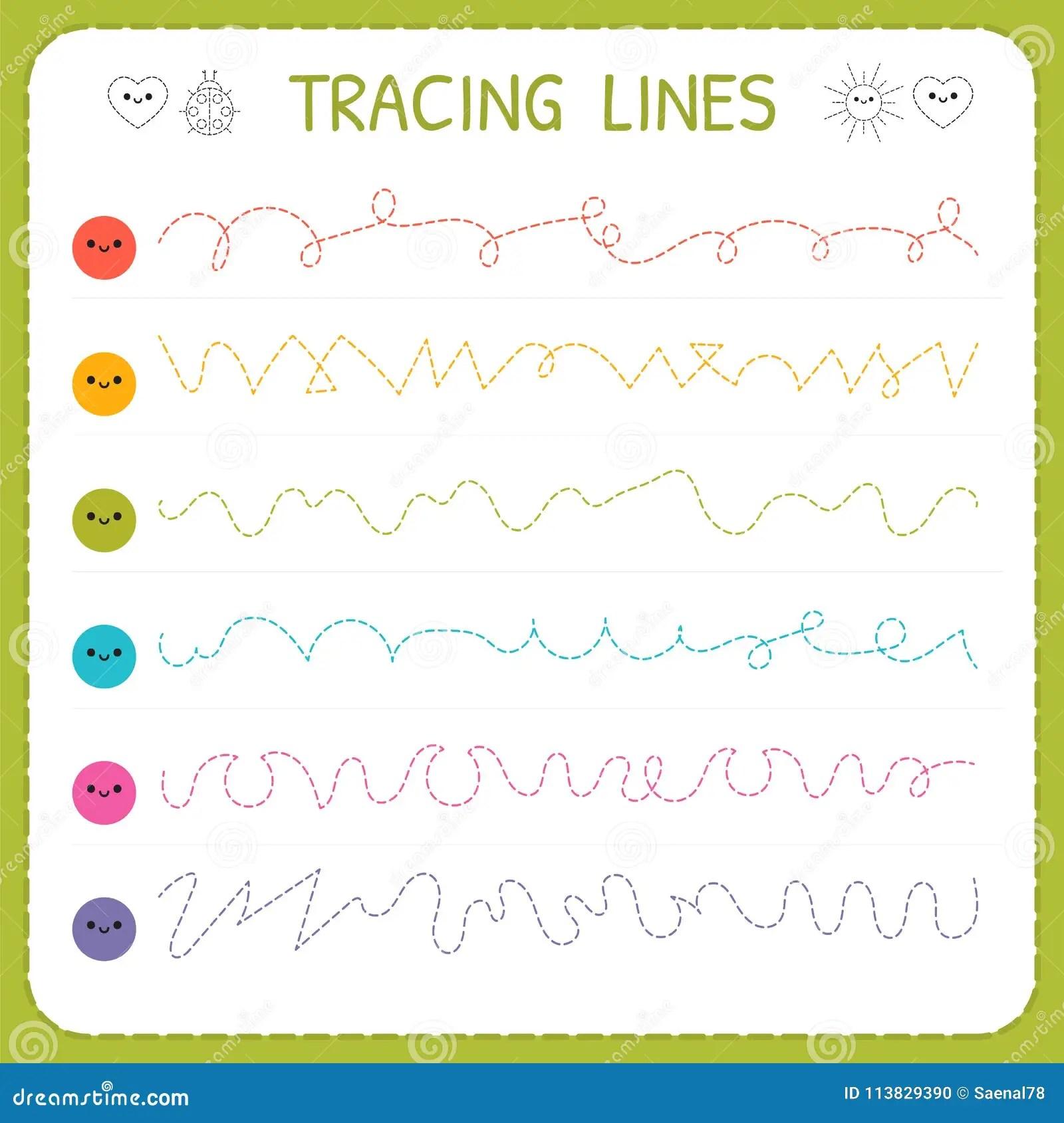 Linhas De Tracado Escrita Basica Folha Para Criancas