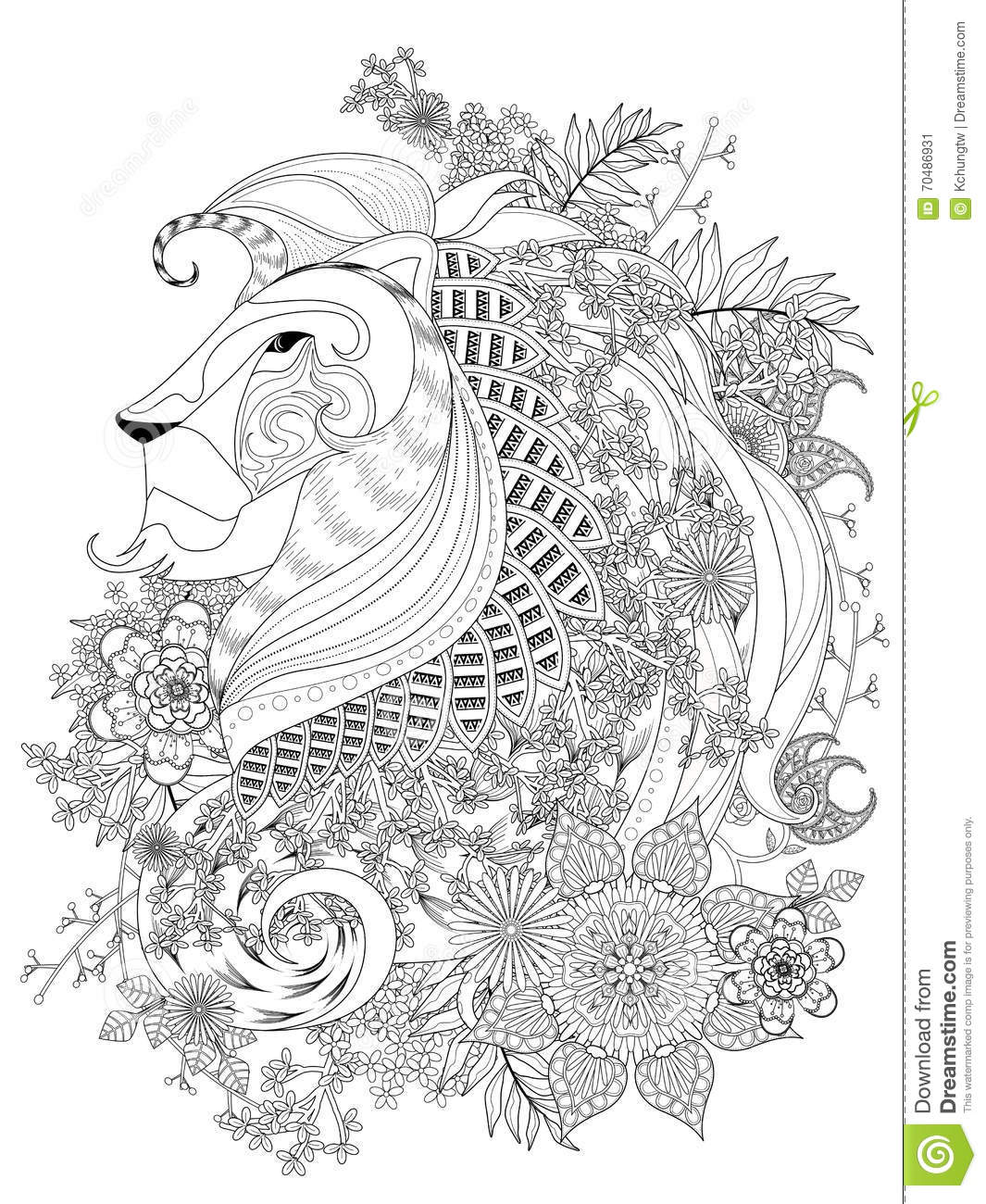 Lion Adult Coloring Page Stock Vector Illustration Of Background