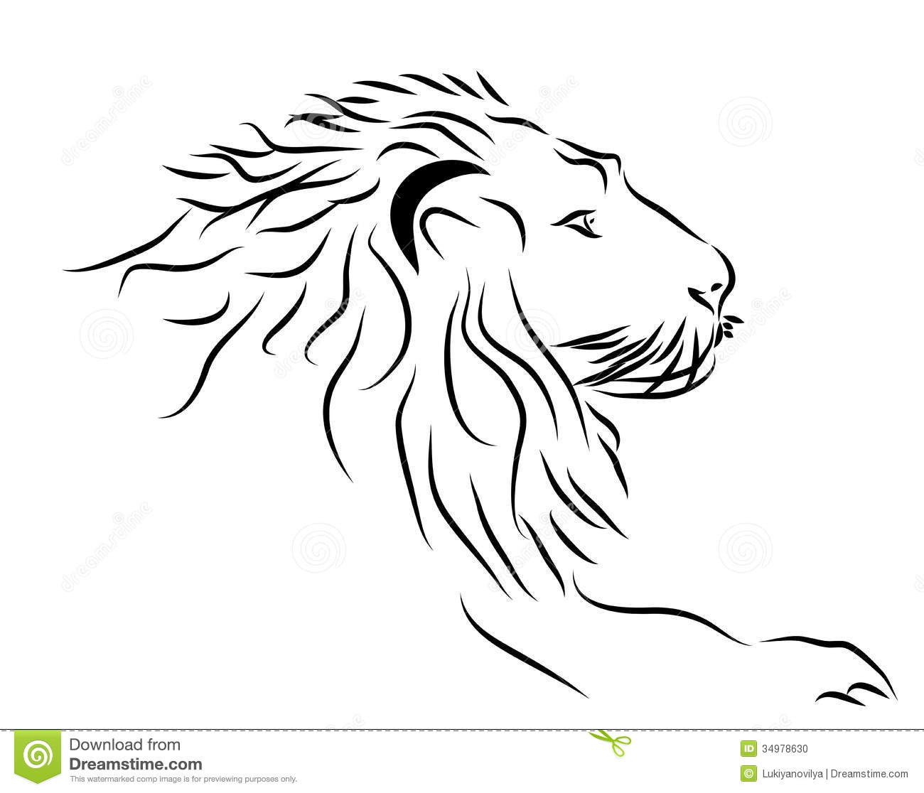A Lion Head Logo In Black And White Stock Vector