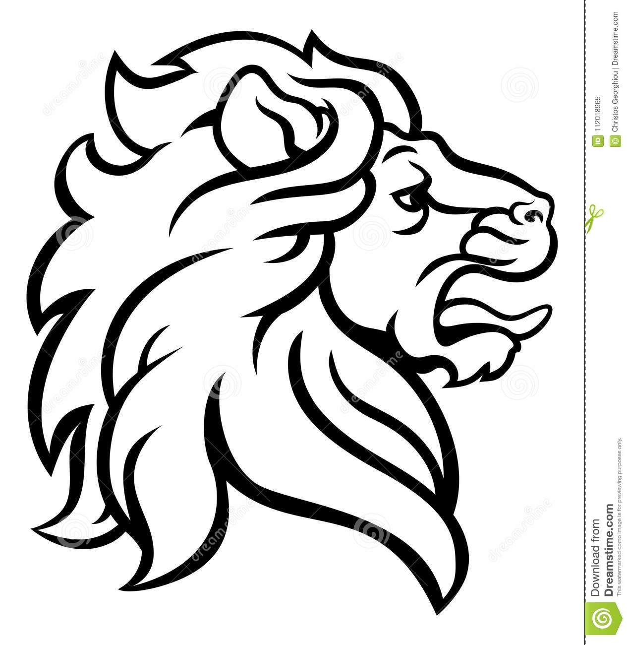 Lion Head Profile Stock Vector Illustration Of Coat