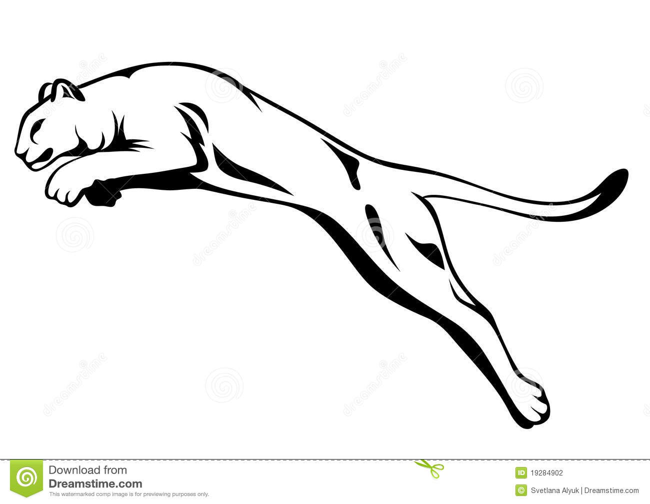 Black And White Panther Tail Vector Vector Illustration