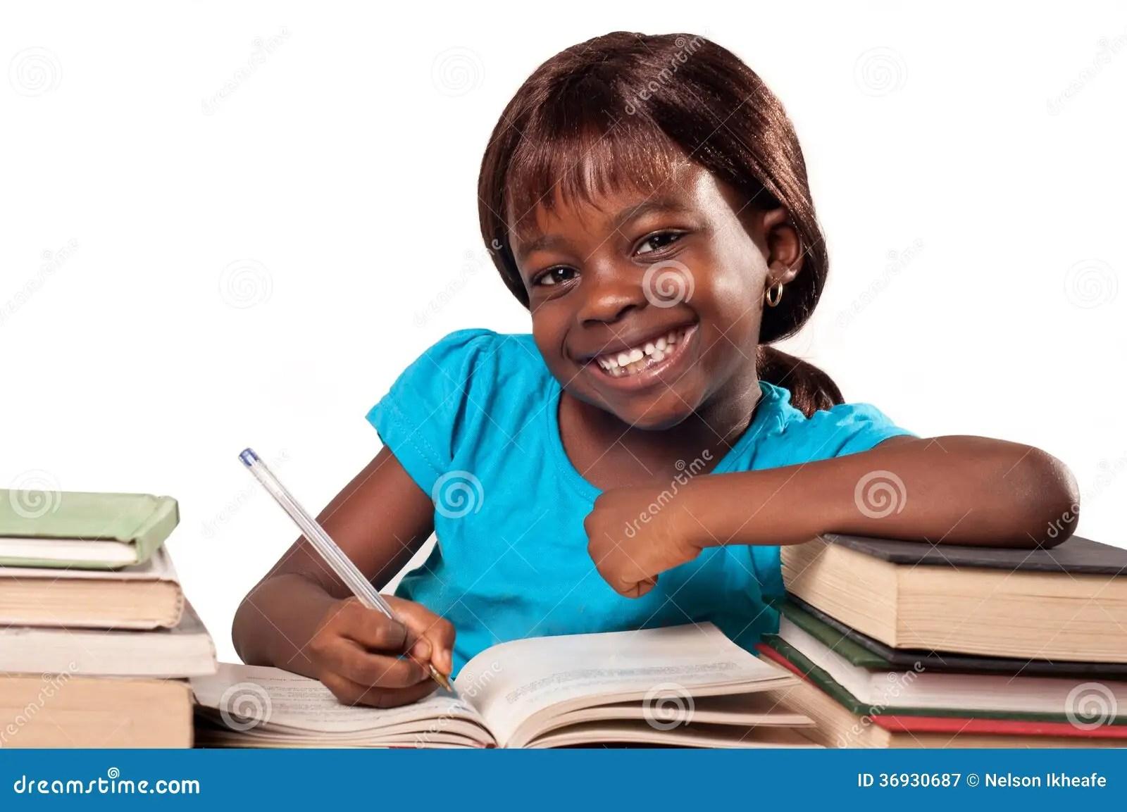 African American School Girl Smiling Royalty Free Stock