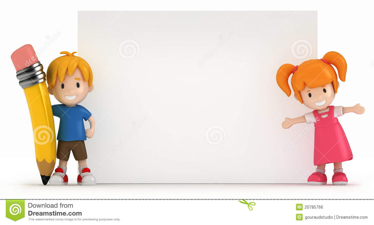 Little Boy And Girl With Blank Board Royalty Free Stock