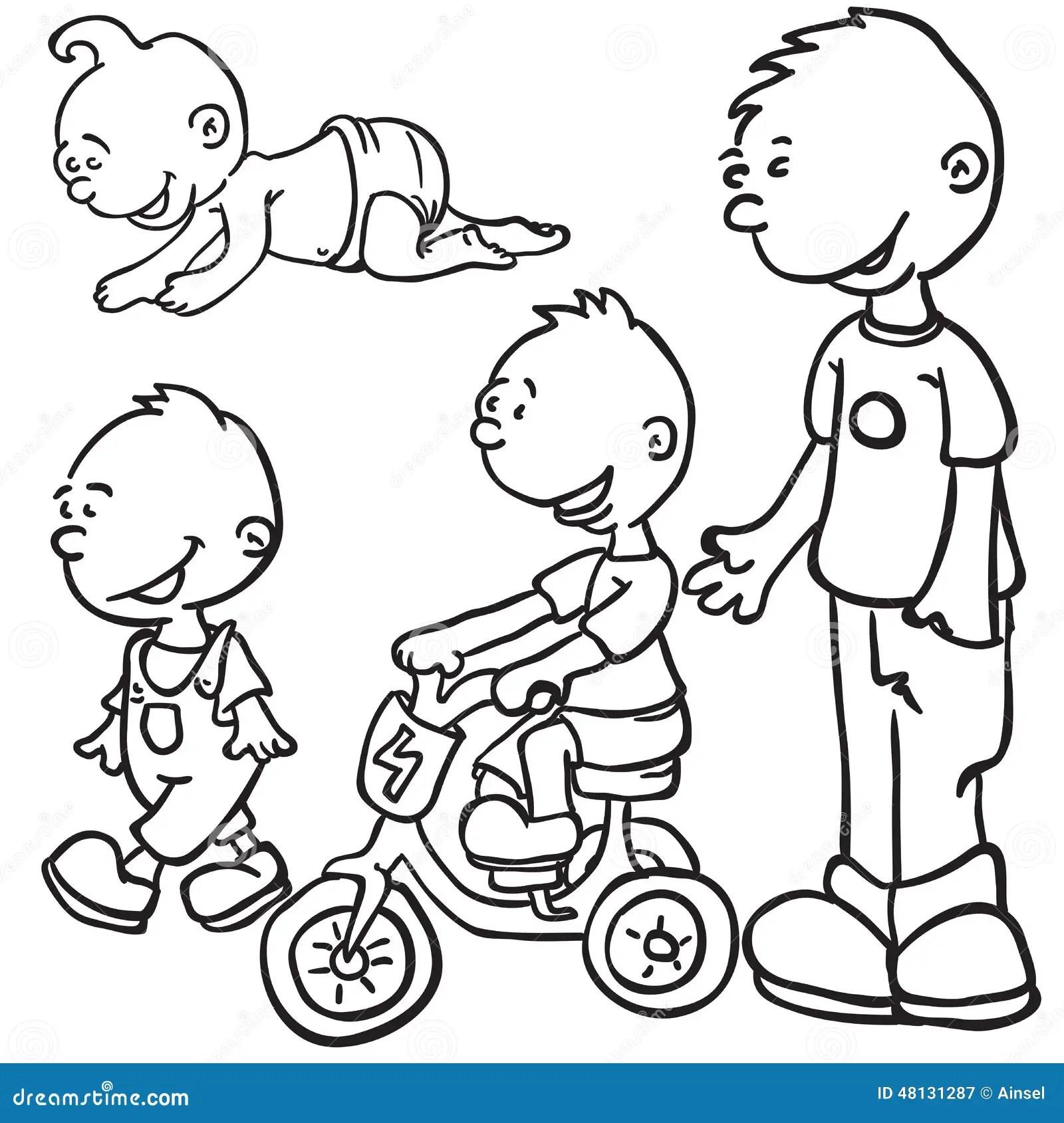 Little Boy Growing Up Stock Illustration