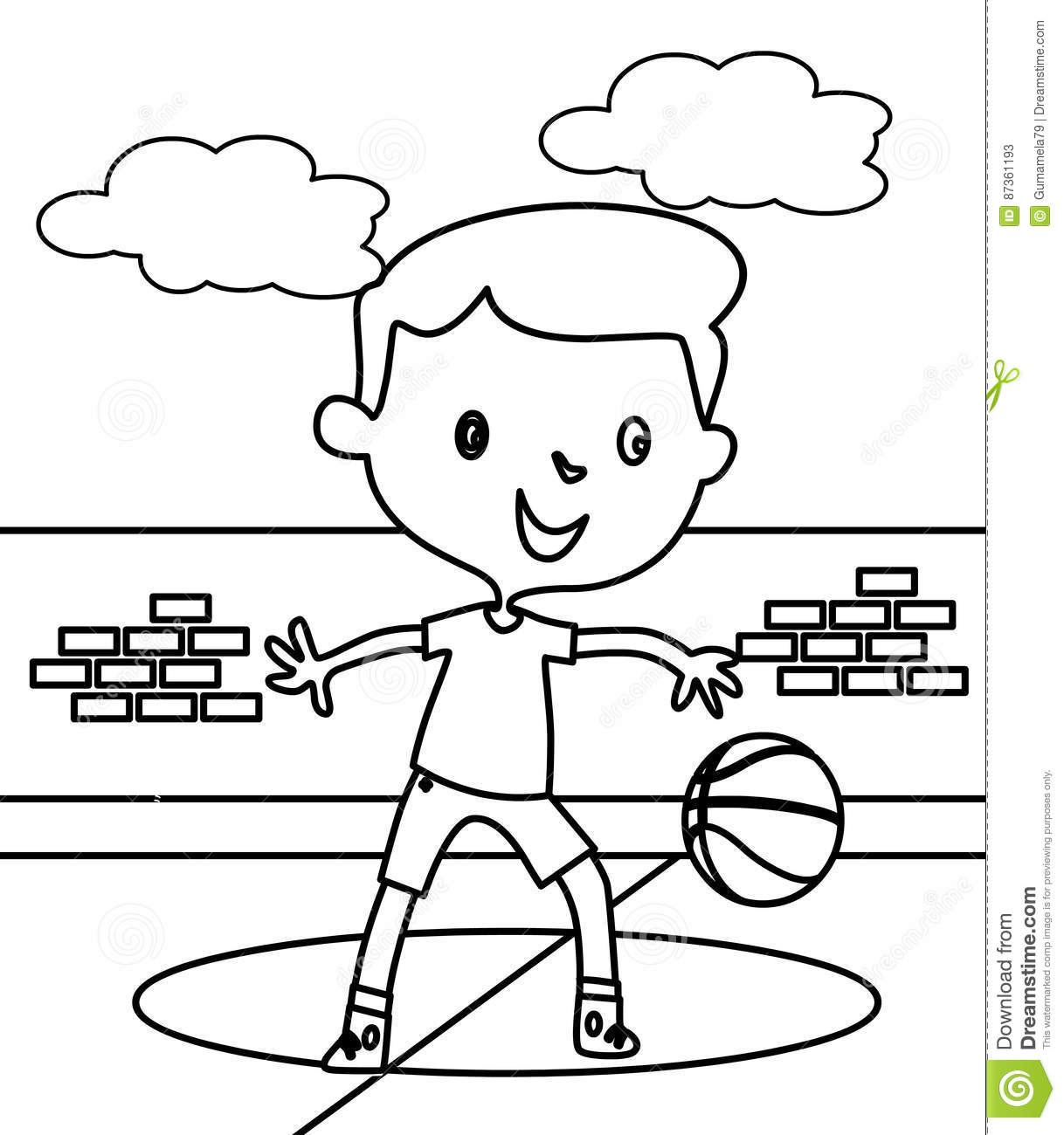 Little Boy Playing Basketball Coloring Page Stock