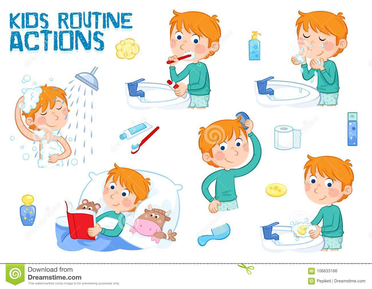 Little Boy And Daily Routine