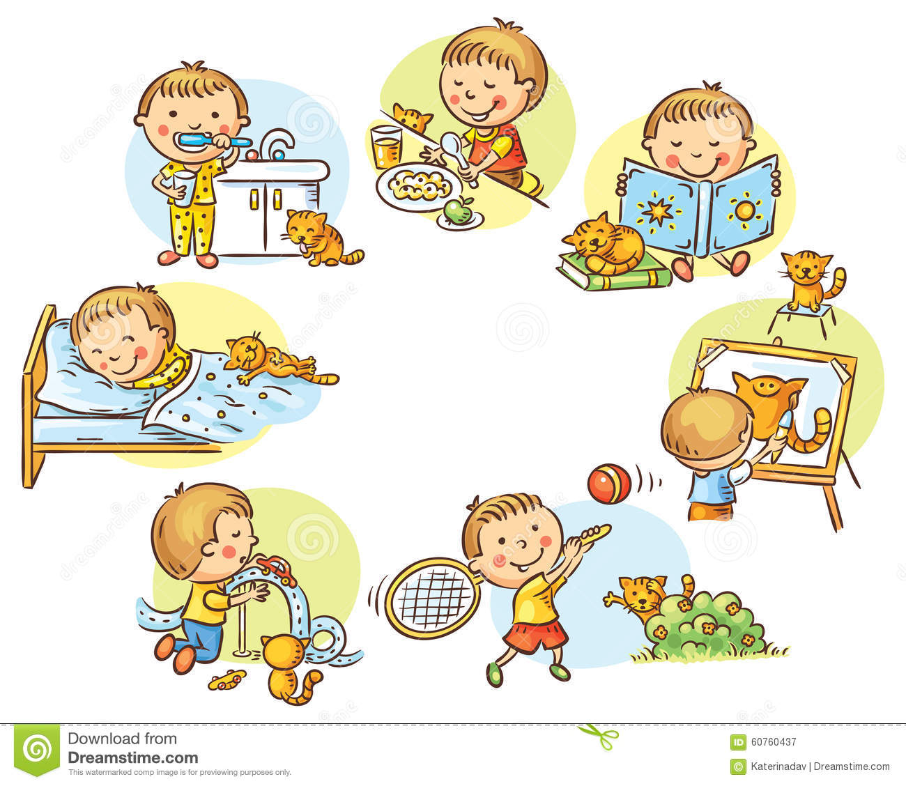 Little Boy S Daily Activities Stock Vector