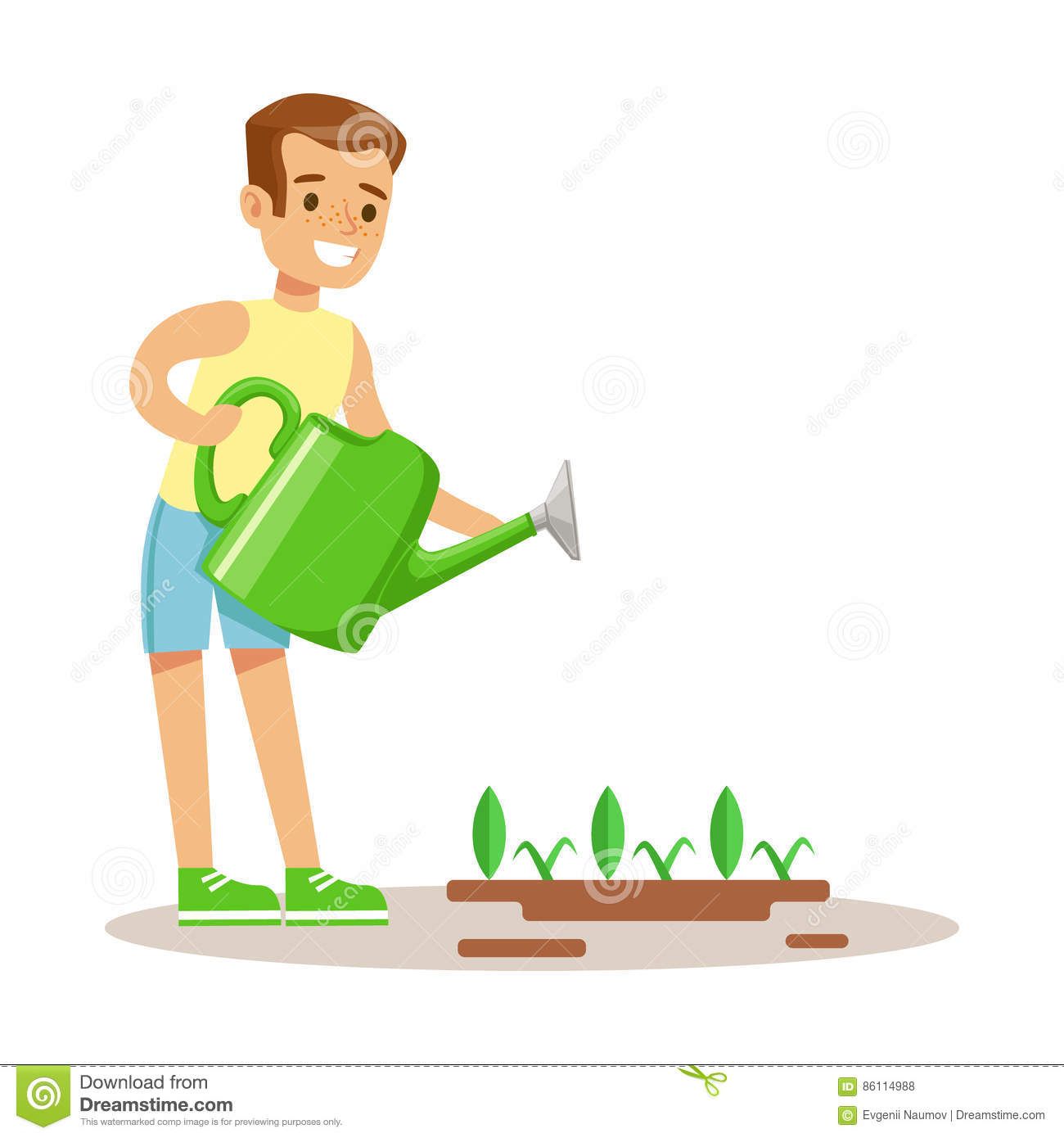 Plants Boy Bing Watering Picture