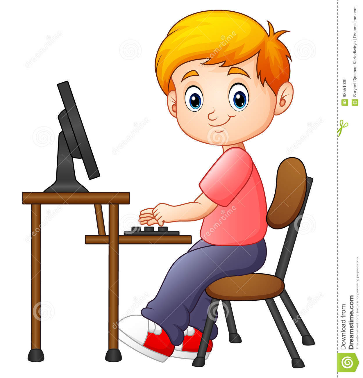 Little Boy Working On The Computer Stock Vector