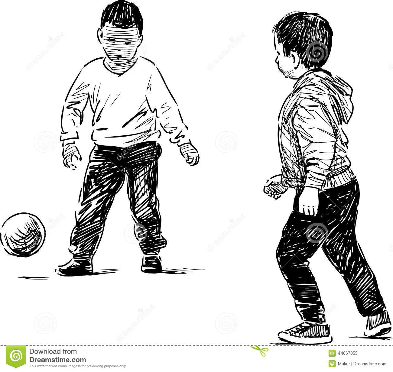 Little Boys Playing With A Ball Stock Vector
