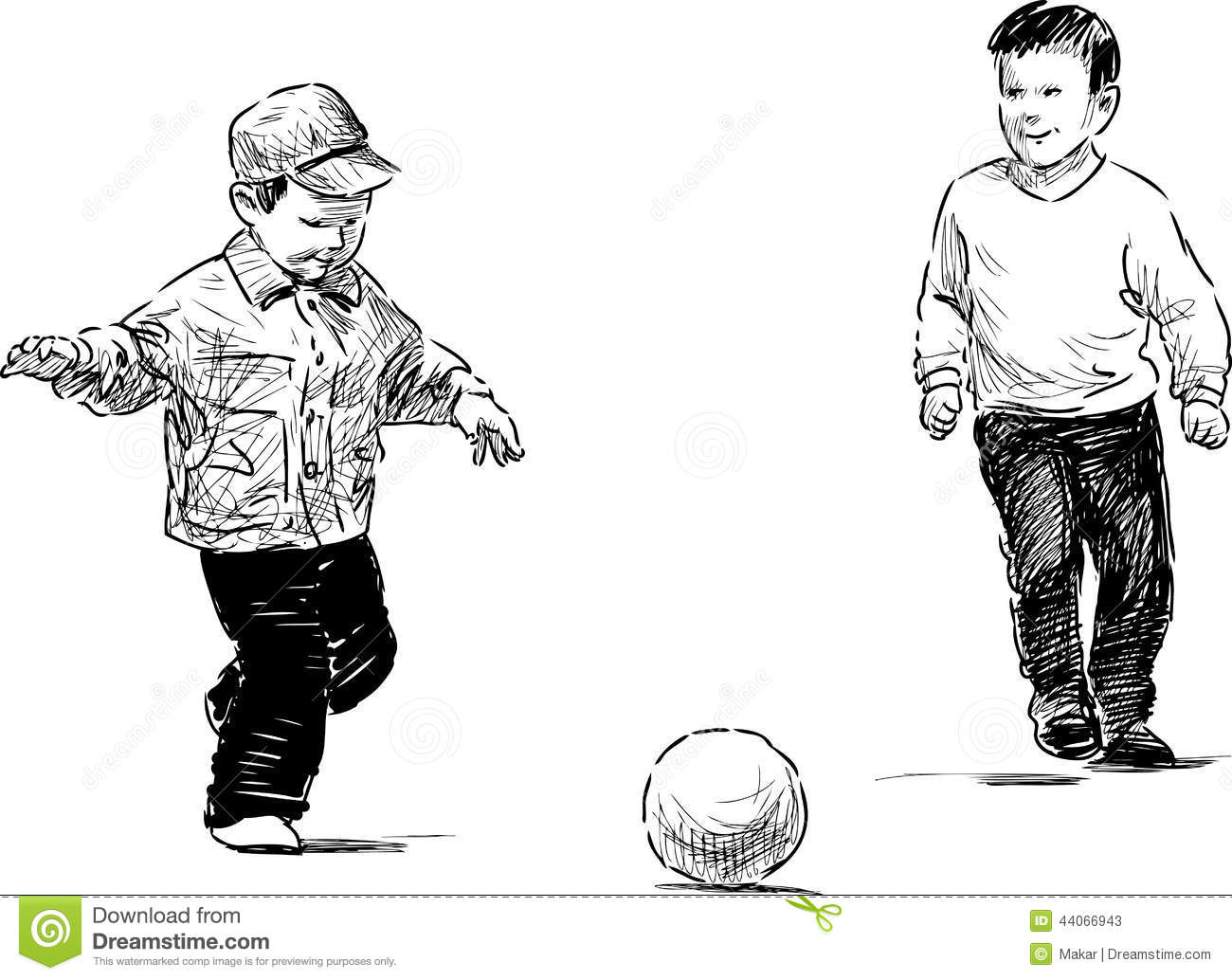 Little Boys Playing A Soccer Stock Vector
