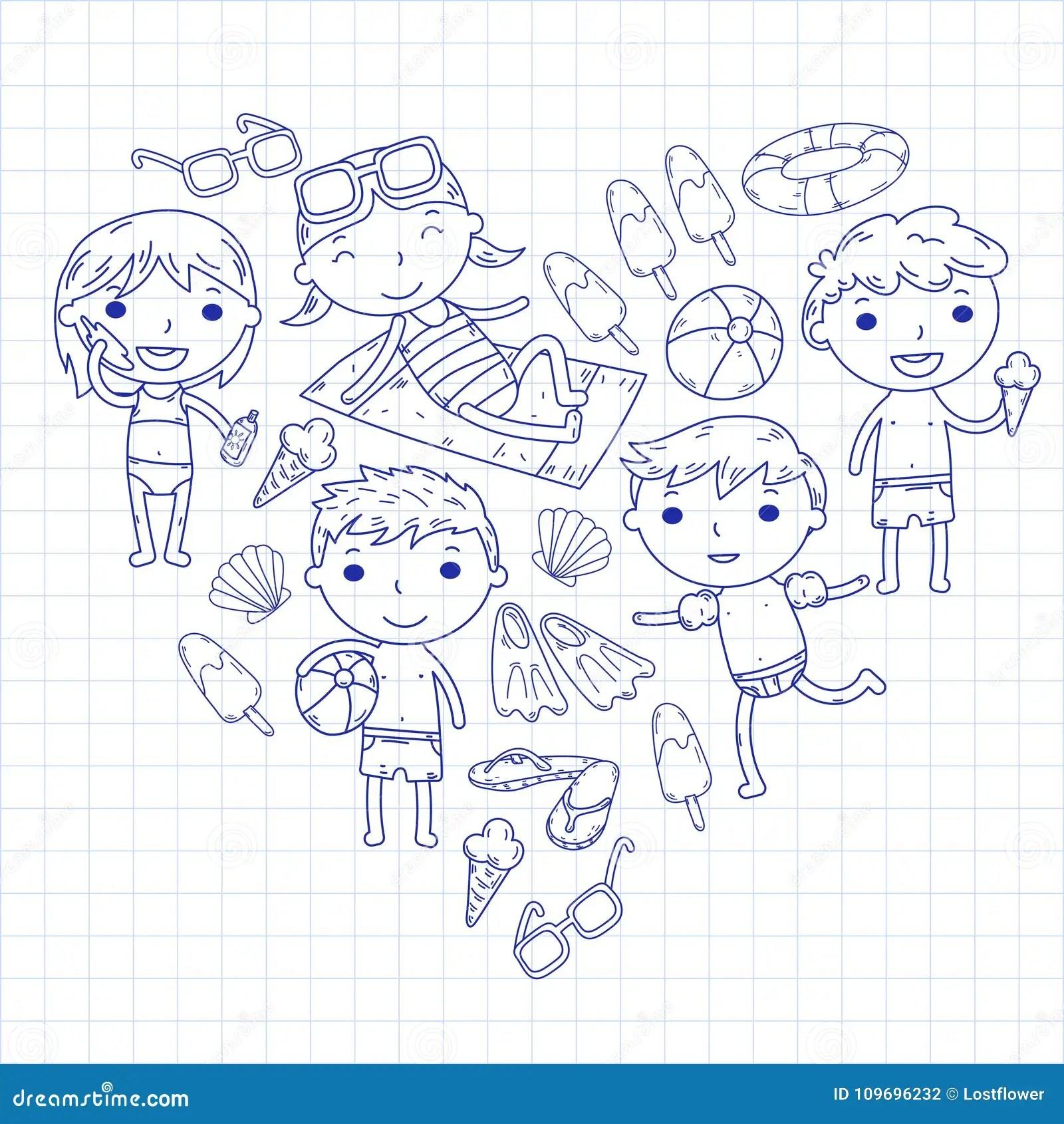 Little Children Play Summer Camp Beach Vacation