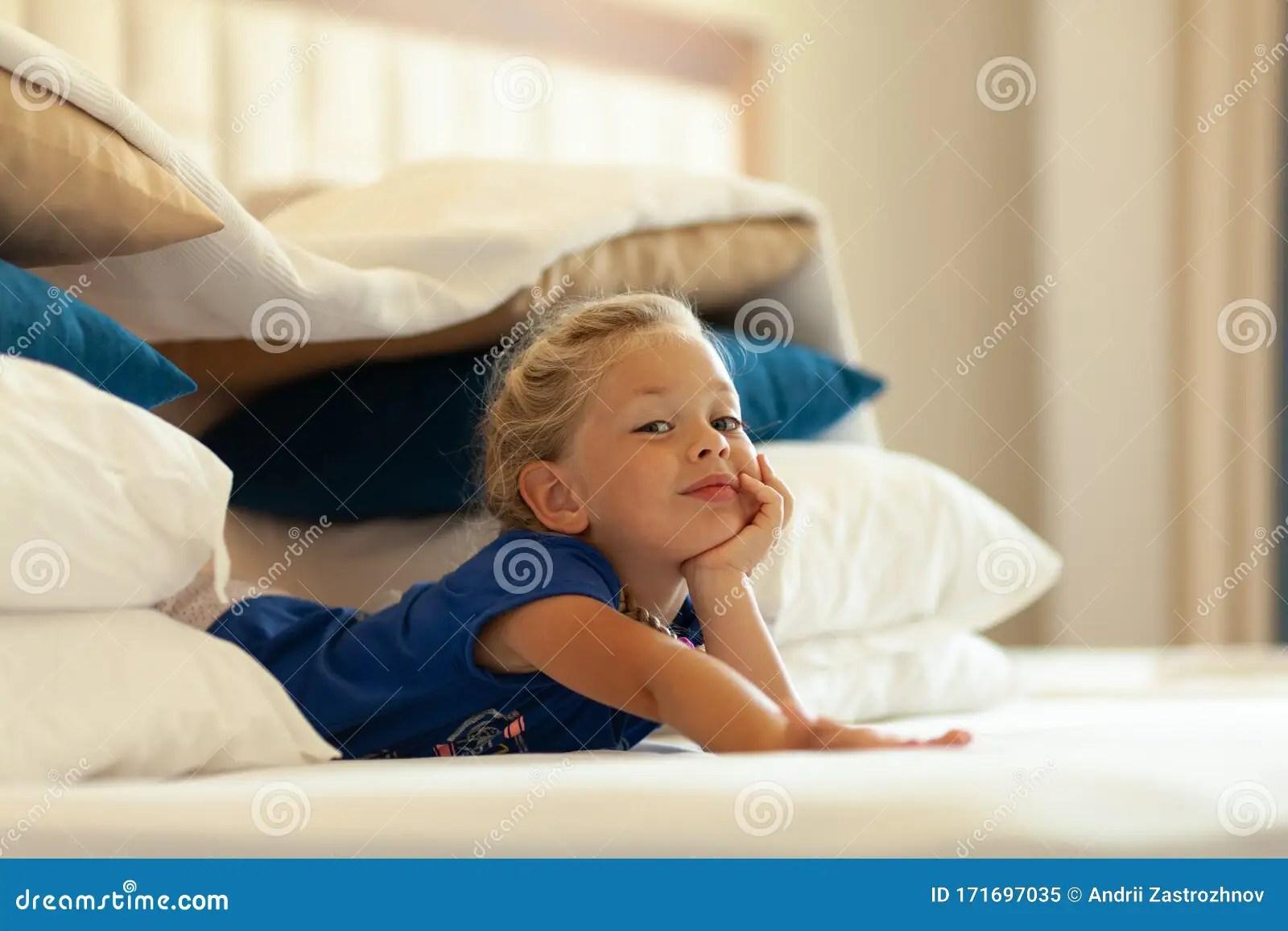 https www dreamstime com little cute girl built impromptu fort castle house out pillows blankets bed children handmade tent lodge little cute image171697035