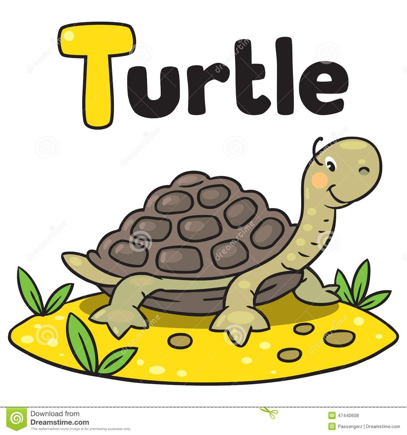 Little Funny Turtle For Abc Alphabet T Stock Vector