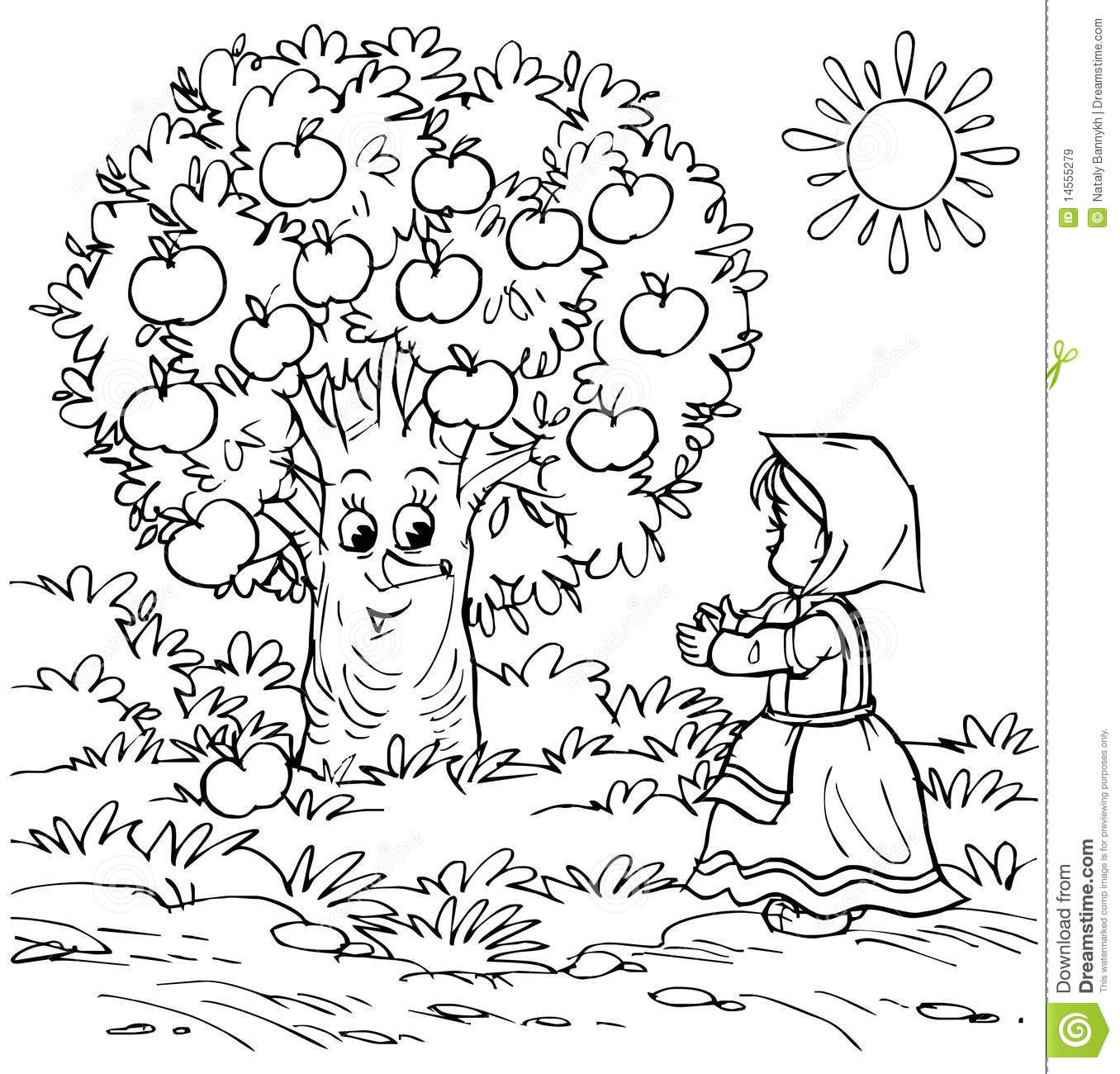 Little Girl And Apple Tree Stock Illustration