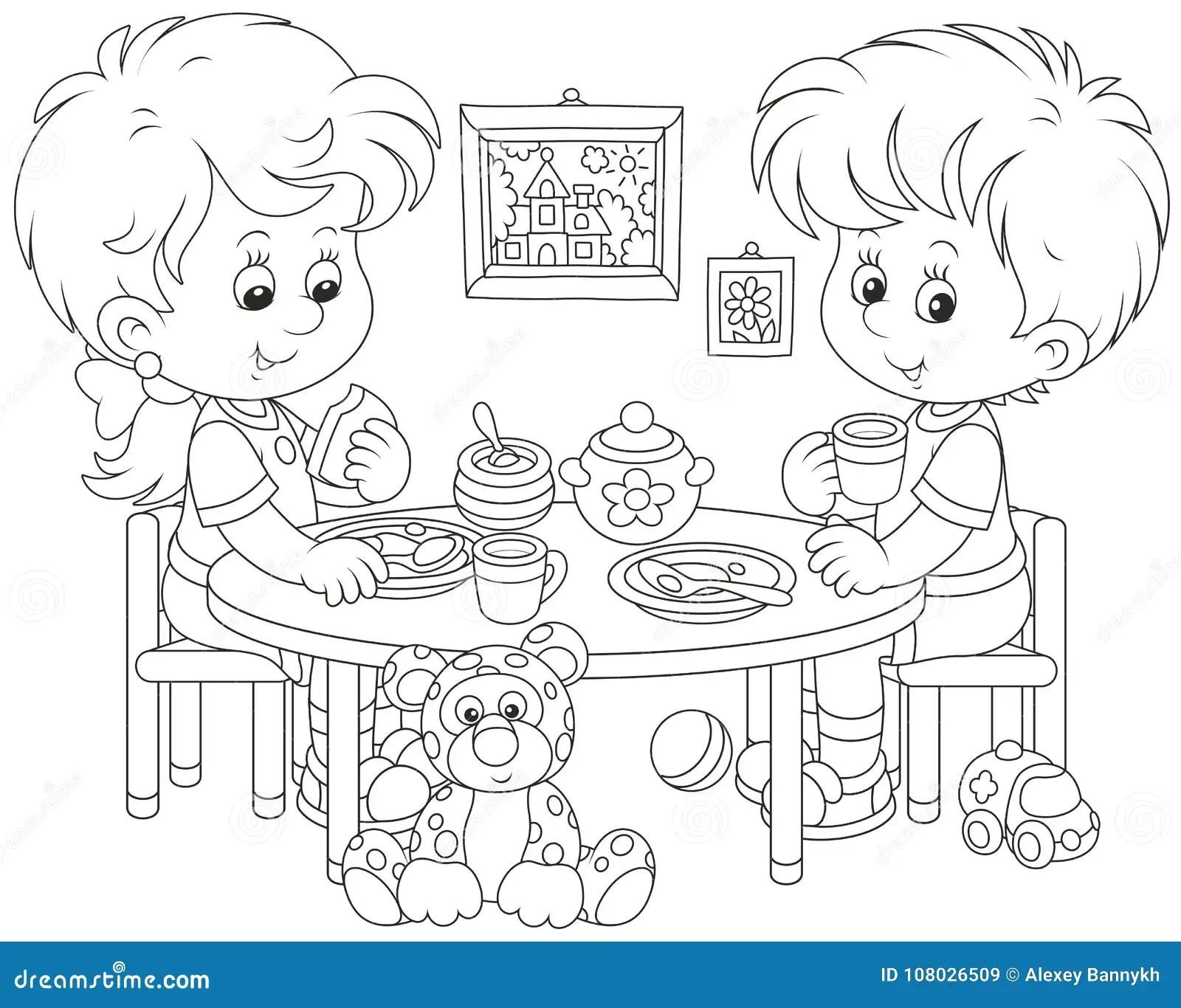 Children At Breakfast Stock Vector Illustration Of Book